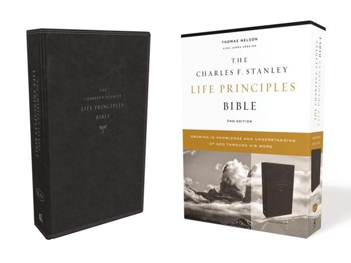 KJV Charles Stanley Life Principles Bible, Black (Imitation Leather)