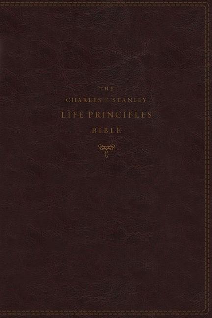 NKJV Charles Stanley Life Principles Bible, Burgundy Indexed (Imitation Leather)