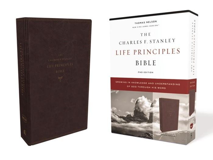 NKJV Charles Stanley Life Priciples Bible, Burgundy (Imitation Leather)