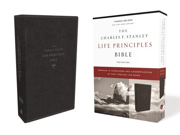 NKJV Charles Stanley Life Principles Bible, Black (Imitation Leather)