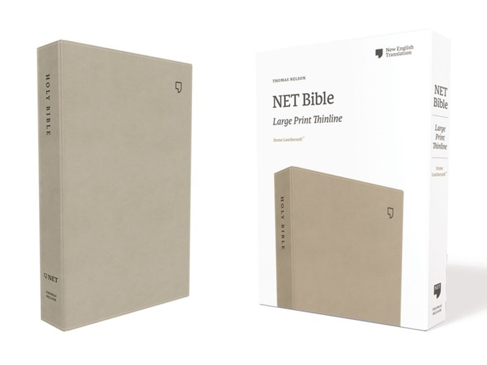 NET Large Print Thinline Bible, Stone (Imitation Leather)