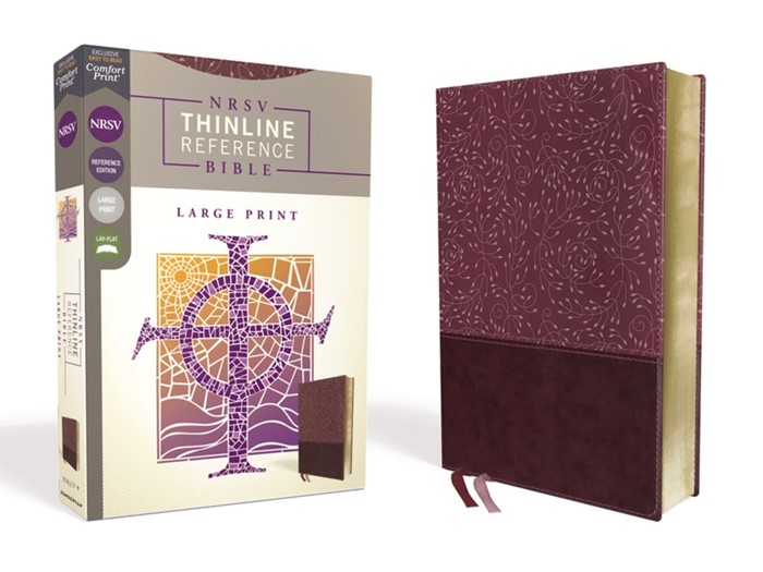 NRSV Large Print Thinline Reference Bible, Burgundy