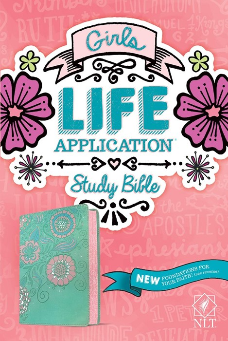 NLT Girls Life Application Study Bible, Teal/Pink (Genuine Leather)