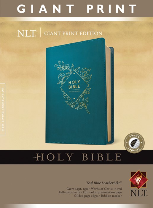 NLT Holy Bible, Giant Print (Red Letter, LeatherLike, Teal B (Genuine Leather)