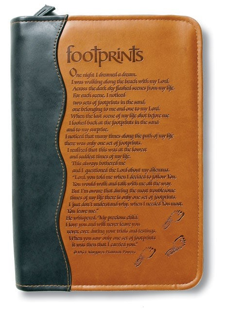 Italian Duo-Tone Footprints Bible Cover, Medium (Bible Case)