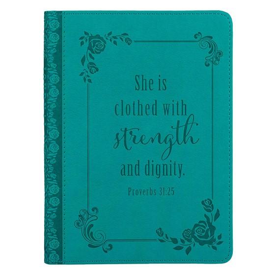 Lux Mini Journal: Aqua Proverbs 31:25 (Imitation Leather)