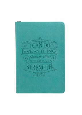 Zip Journal: Philippians 4:13 Teal Lux Leather (Imitation Leather)