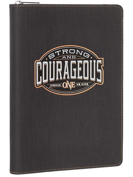 Lux Leather Zipped Journal: Strong & Courageous (Imitation Leather)