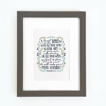 Trust in the Lord Framed Print, Grey (10x8)