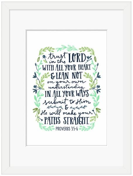 Trust in the Lord Framed Print, White (10x8) (General Merchandise)