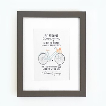Be Strong (Bicycle) Framed Print, Grey (8x10) (General Merchandise)