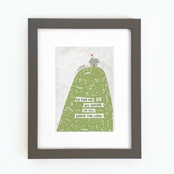 As For Me Hill & House Framed Print, Grey (8x10) (General Merchandise)