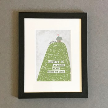 As For Me Hill & House Framed Print, Black (8x10) (General Merchandise)