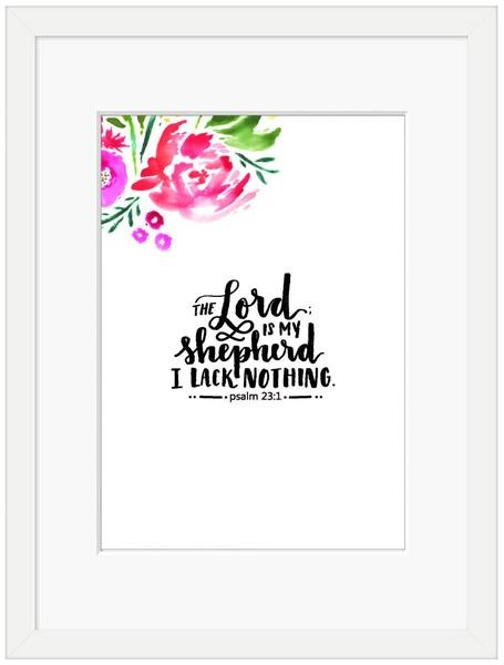 The Lord is My Shepherd Framed Print, White (10x8) (General Merchandise)
