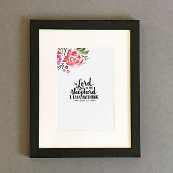 The Lord is My Shepherd Framed Print, Black (10x8) (General Merchandise)