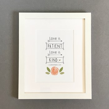 Love is Patient Framed Print, White (10x8) (General Merchandise)