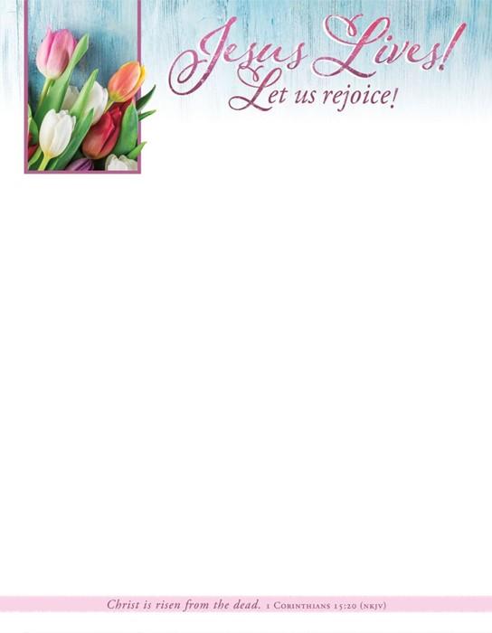 Jesus Lives! Easter Letterhead (pack of 100) (Bulletin)