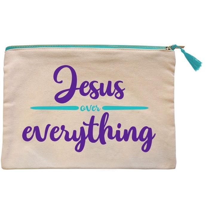 Jesus Over Everything Canvas Zipper Bag (General Merchandise)