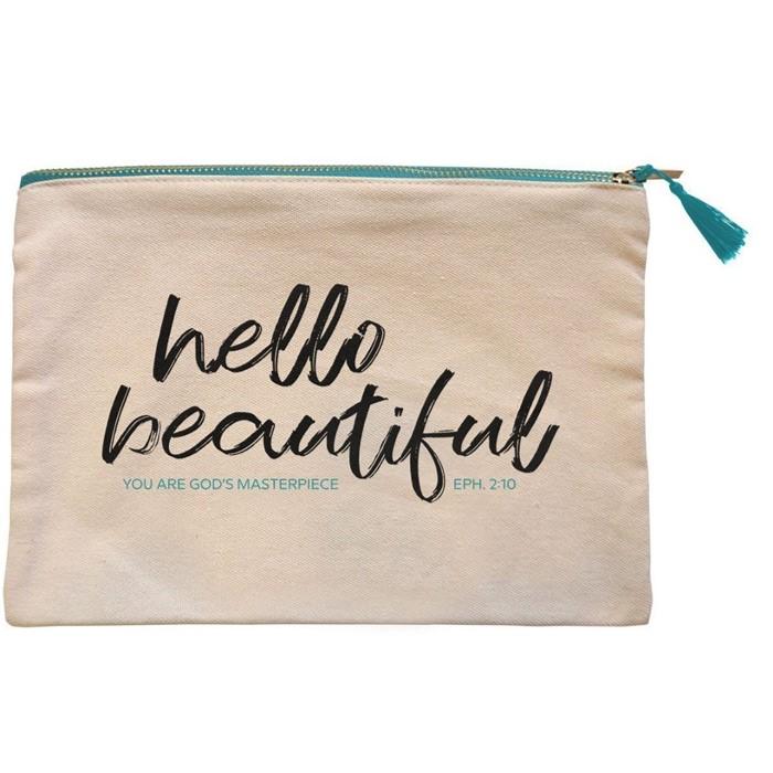 Hello Beautiful Canvas Zipper Bag (General Merchandise)