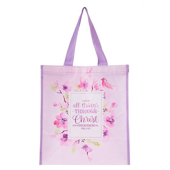 Non-Woven Tote: Floral Philippians 4:13 (General Merchandise)