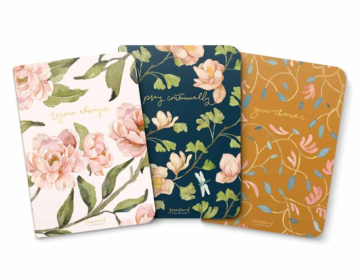 GraceLaced Lined Notebooks - Rejoice, Pray, Give (set of 3) (Notebook / Blank Book)