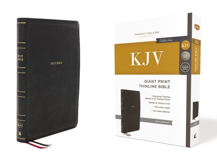KJV Thinline Bible, Black, Giant Print, Red Letter Edition (Imitation Leather)