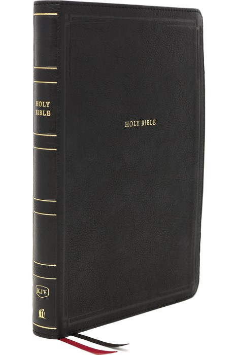 KJV Thinline Bible, Black, Giant Print, Red Letter, Indexed (Imitation Leather)