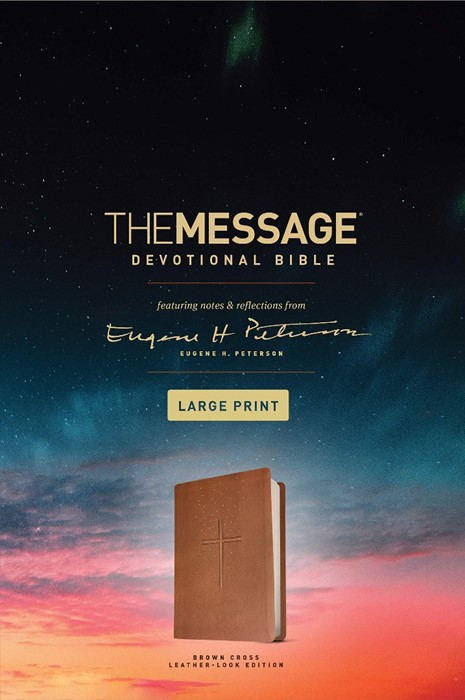 The Message Devotional Bible Large Print Brown (Imitation Leather)