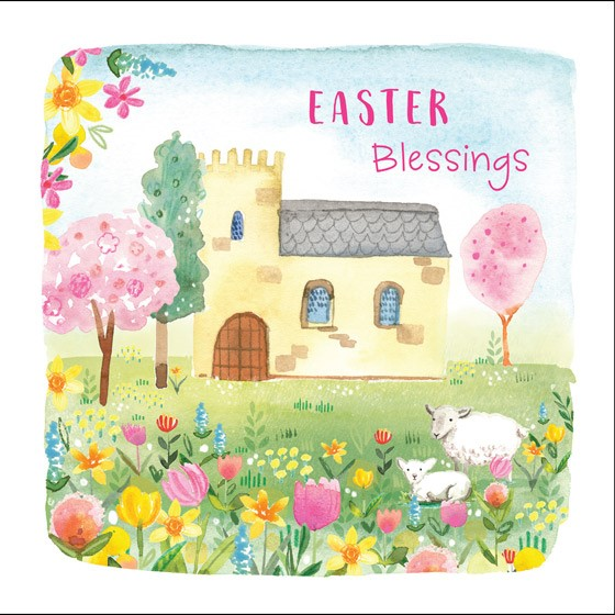Church/Flowers Easter Cards (pack of 5) (Cards)