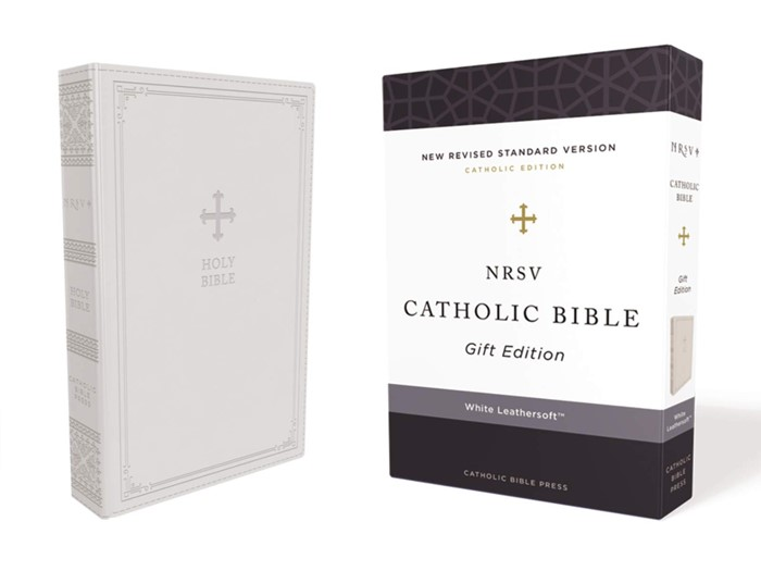 NRSV Catholic Bible, White, Comfort Print (Imitation Leather)