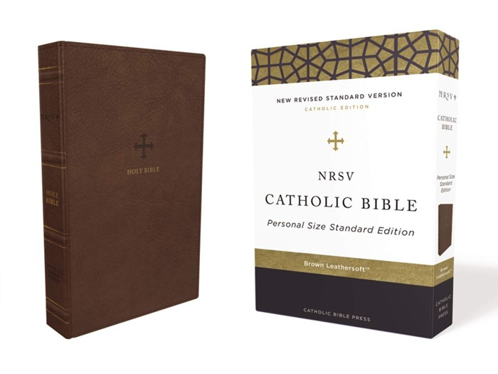 NRSV Personal Size Catholic Bible, Brown, Comfort Print (Imitation Leather)