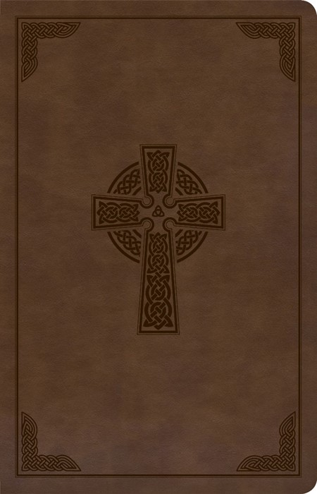 CSB Large Print Personal Size Reference Bible, Brown Celtic (Imitation Leather)