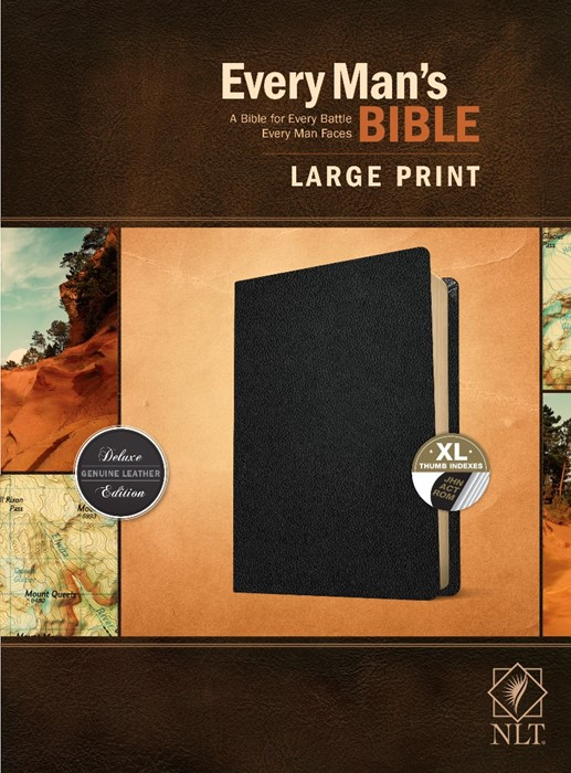 NLT Every Man's Bible, Large Print, Black, Indexed (Genuine Leather)