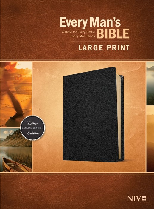 Every Man's Bible NIV, Large Print (Genuine Leather, Black) (Genuine Leather)