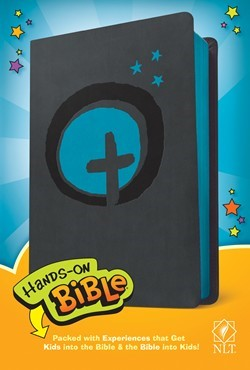 NLT Hands-On Bible (LeatherLike, Dark Gray/Blue Cross) (Imitation Leather)