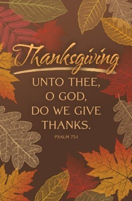 Unto Thee Thanksgiving Bulletin (pack of 100) (Bulletin)