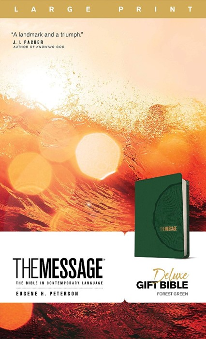 Message Deluxe Gift Bible, Large Print, Green (Imitation Leather)