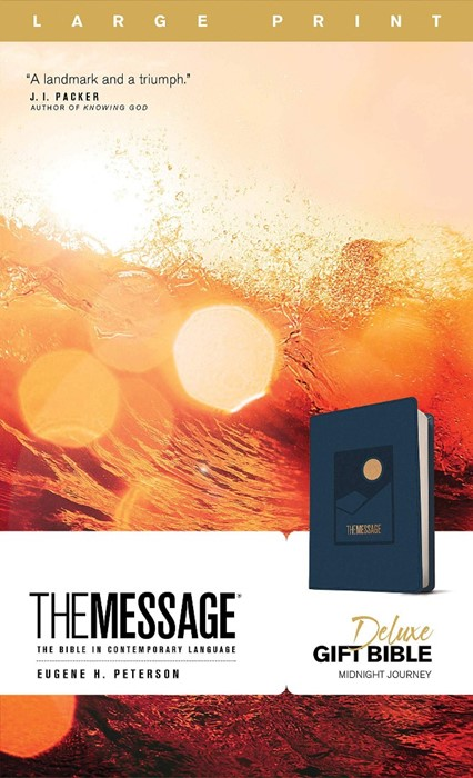 Message Deluxe Gift Bible, Large Print, Navy (Imitation Leather)