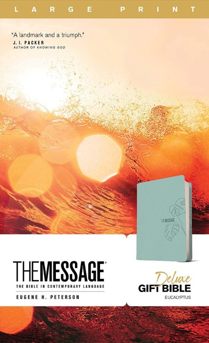 Message Deluxe Gift Bible, Large Print, Teal (Imitation Leather)