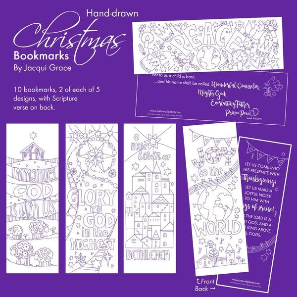 10 Christmas Colouring Bookmarks (Bookmark)