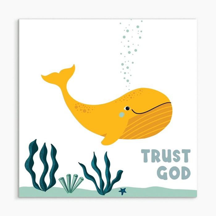 Trust God (Whale) White Framed Print 6x6 (General Merchandise)