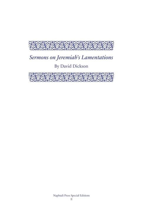 Sermons on Jeremiah's Lamentations (Hard Cover)