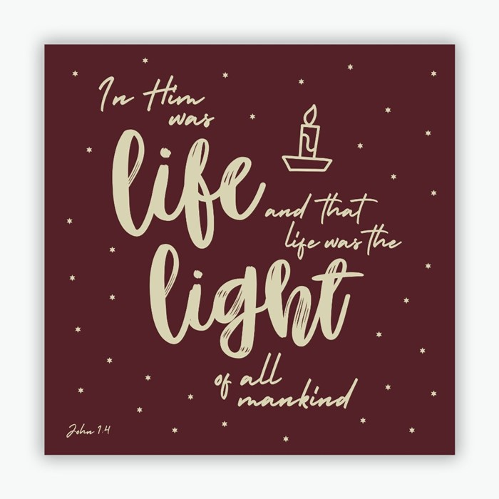 In Him Was Life (red) Christmas Cards (pack of 10) (Cards)