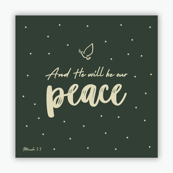 He Will be Our Peace (green) Christmas Cards (pack of 10) (Cards)