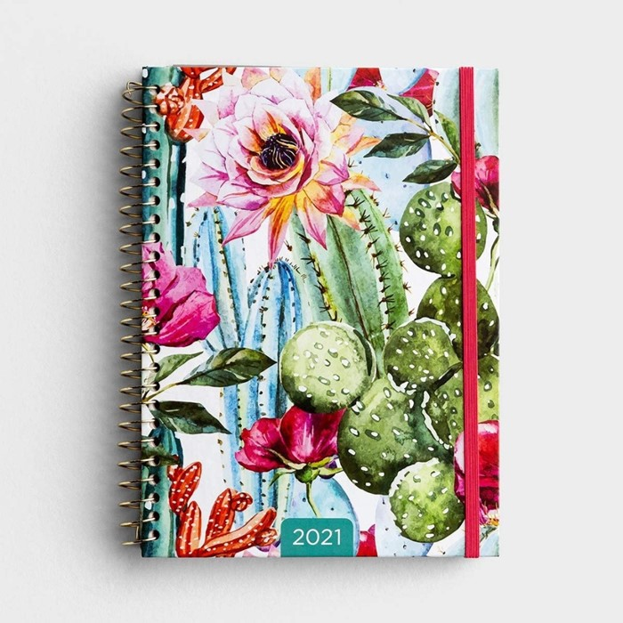 2021 Week To View Planner: Cactus Flower (Spiral Bound)