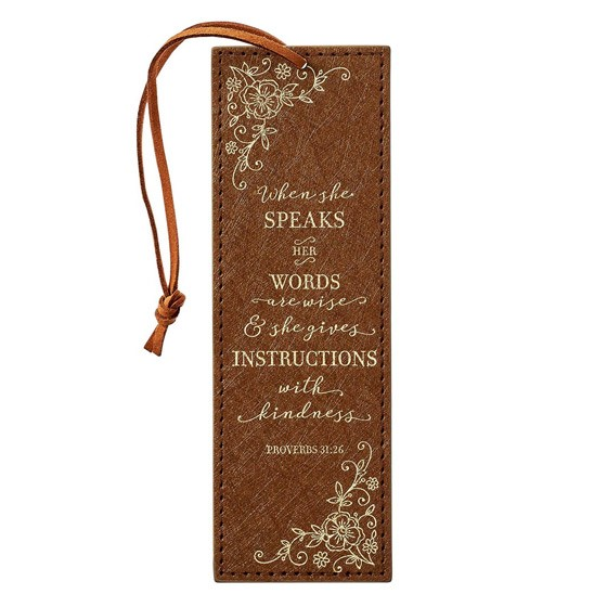 When She Speaks LuxLeather Bookmark, Brown (Bookmark)