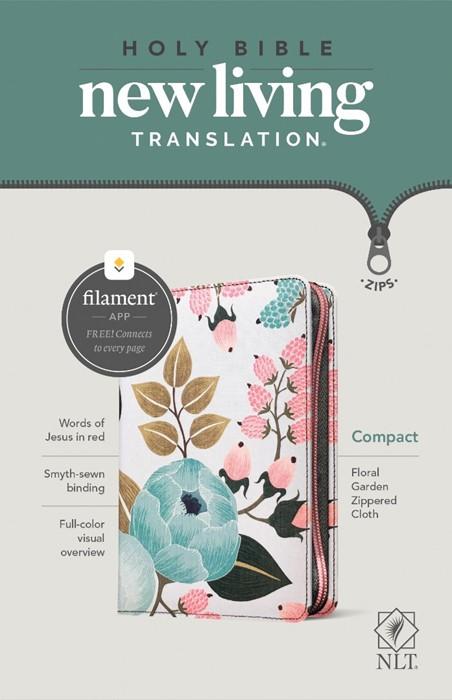 NLT Compact Zipper Bible, Filament Enabled Edition, Floral (Paperback)