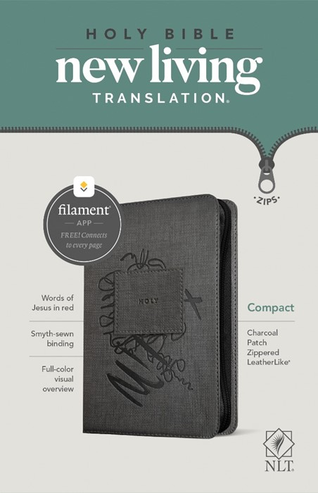 NLT Compact Zipper Bible, Filament Enabled Edition, Charcoal (Imitation Leather)