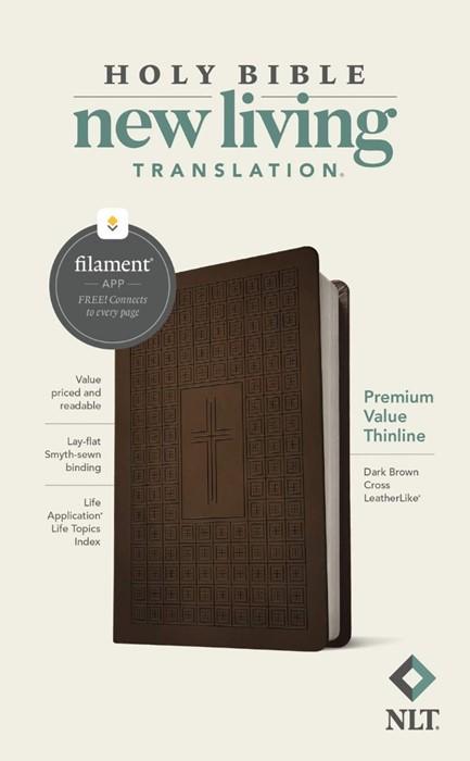 NLT Premium Value Thinline Bible, Filament Edition, Brown (Imitation Leather)