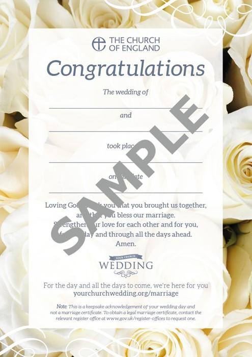 Wedding Celebration Keepsake Card (pack of 10) (Cards)